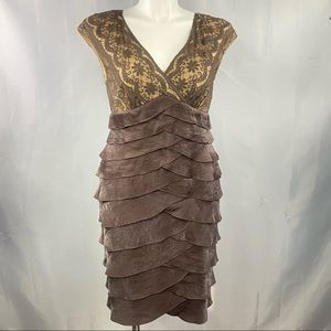 Adrianna Papell dress floral lace cocktail brown